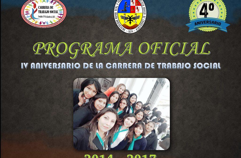 PROGRAMA OFICIAL 2017 – ANIVERSARIO DE LA CARRERA DE TRABAJO SOCIAL